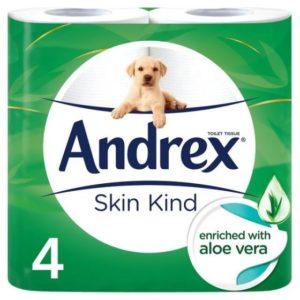 Andrex Toilet Tissue Skin Kind 4 Rolls