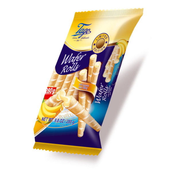 Tago Rurki Waflowe Wafer Rolls with Banana Taste Filling 280g