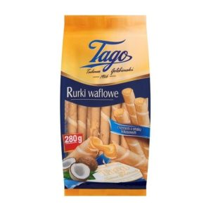 Tago Rurki Waflowe Wafer Rolls with Coconut Flavour Cream 280g